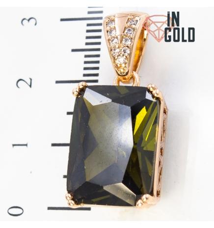 Подвеска лимонка, прямоугольный камень(1,2х1,6), на основание мелкие камни