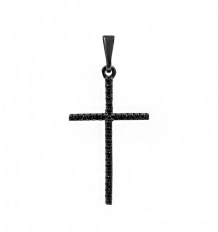 Крестик черный родиум