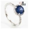 Кольцо родиум Круглый камень 0,8 в оправе мелких камней