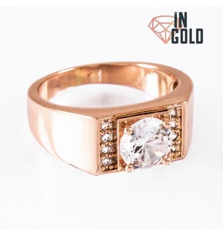 Кольцо позолота Печатка с круглым камнем 0,7