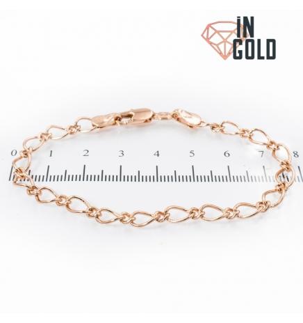 Браслет позолота овальные звенья 1 к 1му 0,5/18 см