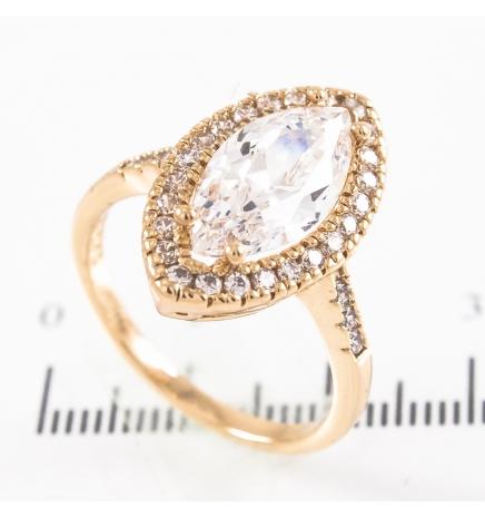 Кольцо лимонная позолота Большой узкий камень в оправе мелких