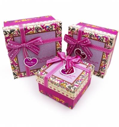Набор коробочек (малиновый) I Love You 3 шт
