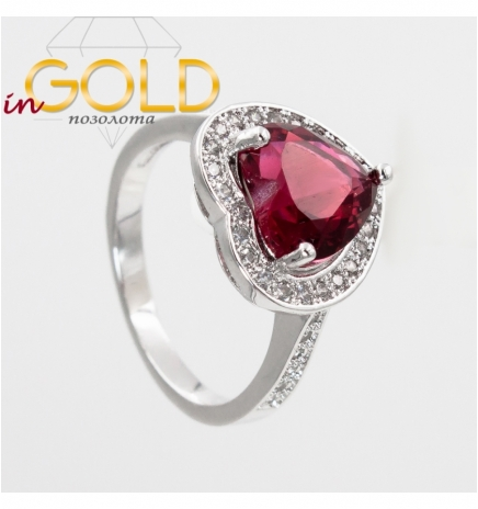 """Кольцо родиум """"Сердце-камень в оправе камней"""""""