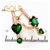 Серьги позолота Сердце-Камень +1 маленькие камни на палочке камней