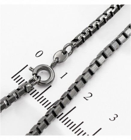 Цепочка черный родиум венецианское плетение 0,3/49см