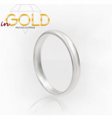 Кольцо родиум без камней 0,3 см объемное