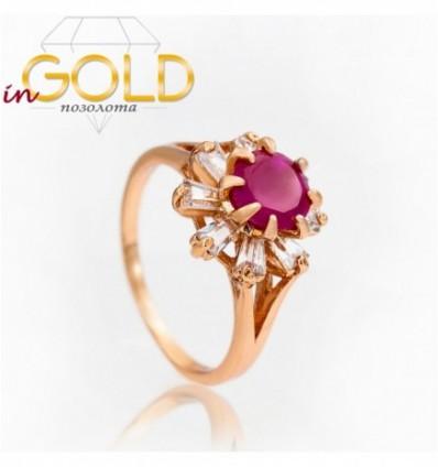 Кольцо позолота камень Цветок 0,7