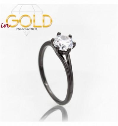 Кольцо черный родиум Камень 0,6