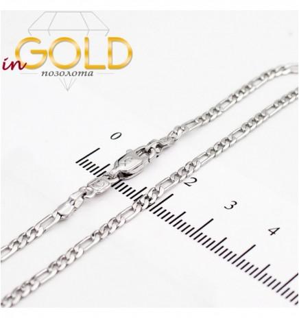 Цепочка родиум плетение картье плоское 0,2/50 см
