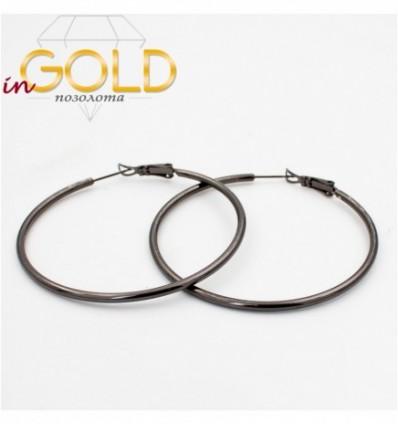 Серьги-кольца черный родиум гладкие,5 см