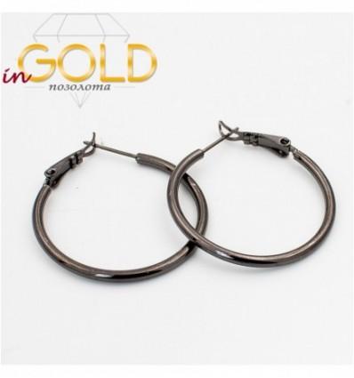 Серьги-кольца черный родиум гладкие 3 см