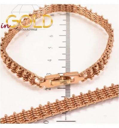 Браслет позолоченный тесное плетение на гвоздиках (поперек) 19 см