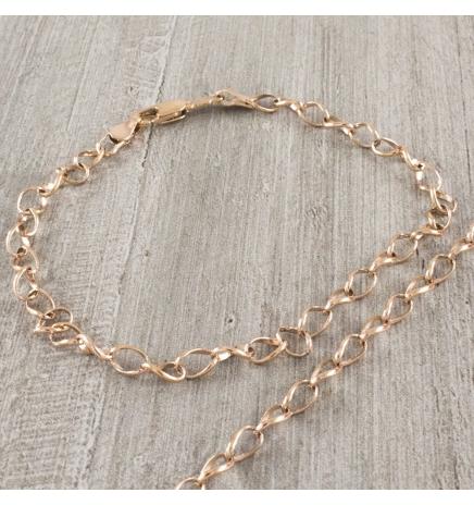 Браслет позолота Тонкие овальные кручененые звенья 0,4/22 см