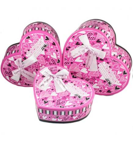 Набор подарочных коробок Сердце (розовое) 3шт. (Большие)