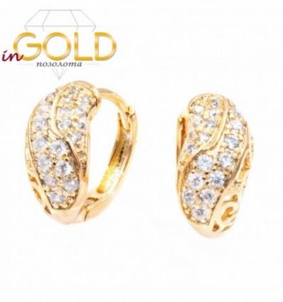 Серьги кольца — лимонная позолота, с узорами и камнями