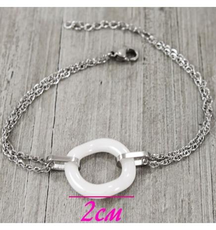 Браслет-цепочка с керамикой кругом