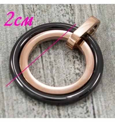 Подвеска керамика Два кольца (плоские) керамика+сталь