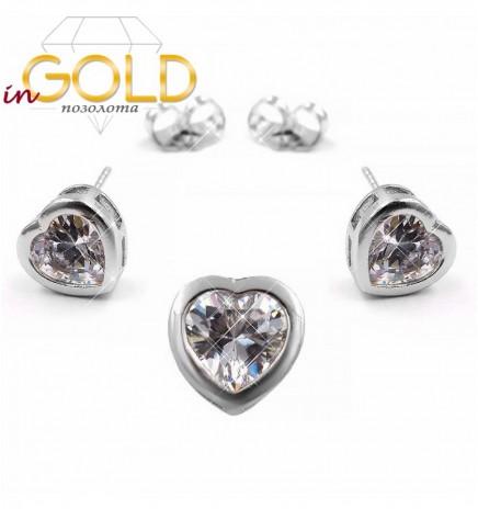 Набор родий Сердце-камень в металлической оправе