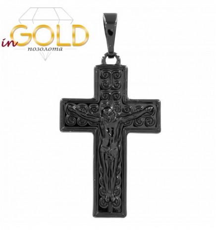 Подвеска черный родий Крест с распятием, 3,2 см