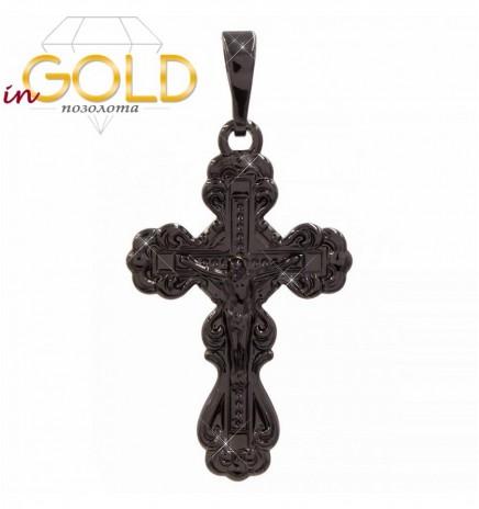 Подвеска (черный родий) Крест с распятием
