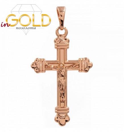 Подвеска (позолота (Медицинское золото)) Тонкий крестик с распятием