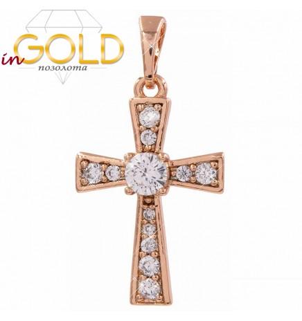Крестик без распятия — позолота, с камнями