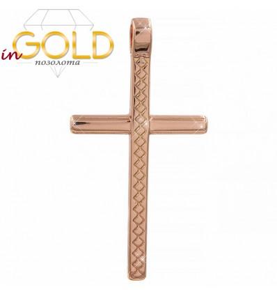 Крестик позолота прямоугольный 3,2 см
