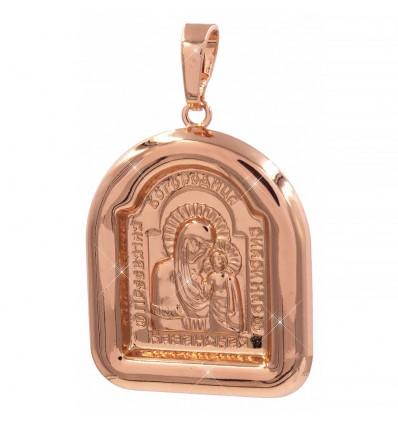 Подвеска позолота ладанка Богородица (округло-прямоугольная) 2,8 см гладкая рамочка