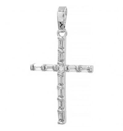 Подвеска родиум Крестик из прямоугольных камней
