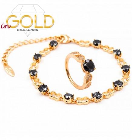 Комплект — лимонная позолота, браслет+кольцо (черный)