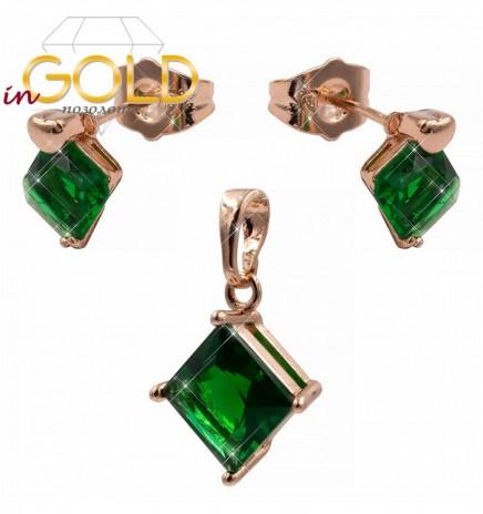 Комплект — позолота, серьги+кулон (зеленый)