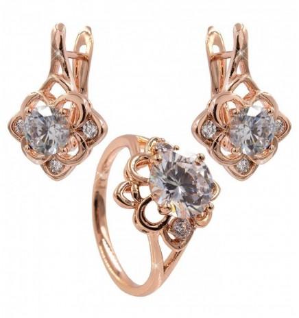Набор серьги+кольцо «Ромбик» (Медицинское золото)