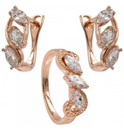 Набор серьги+кольцо «Спаси и Сохрани» (Медицинское золото)