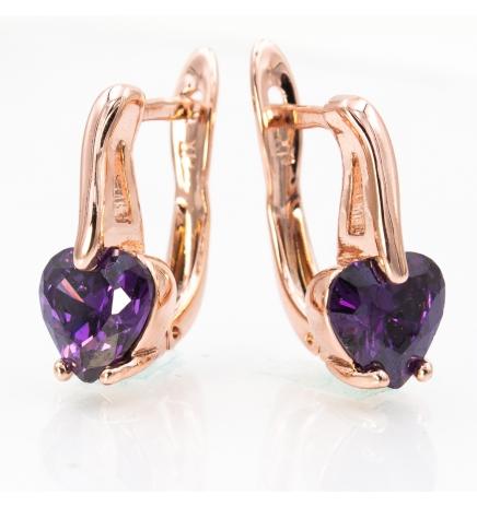 Серьги позолота сердце-камень на металлической палочке-изгибе